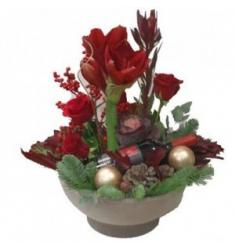 Christmas arrangement in a pot