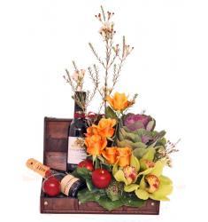 Flower arrangement with wines