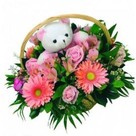 Καλαθάκι με λουλούδια για κοριτσάκι (Cy)