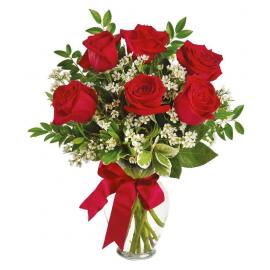 6 roses in a vase (Cy)