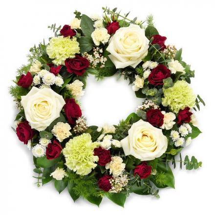 Στεφάνι κηδείας σε λευκό και κόκκινο(G)