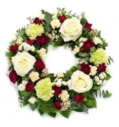 Funeral wreath in white and red (G)