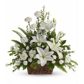 Peaceful White Lilies Basket  (Αμερική-Καναδάς)