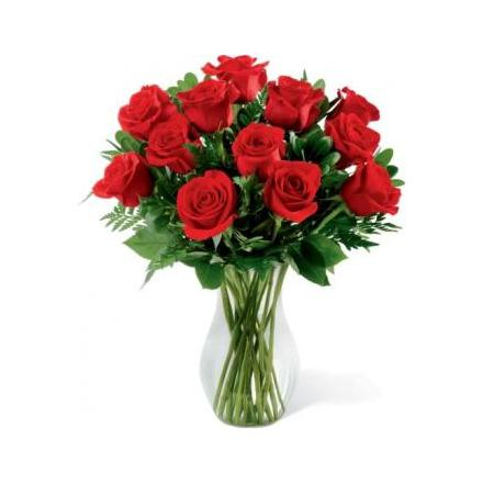 12 τριαντάφυλλα σε βάζο-HAPPY ANNIVERSARY