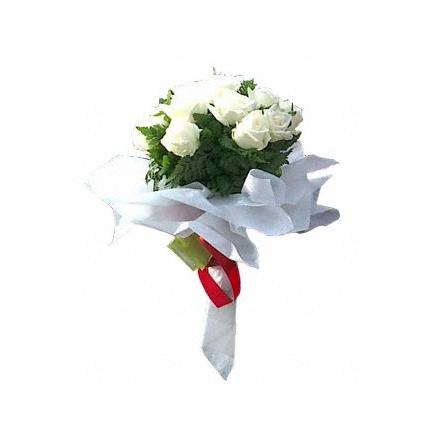 9 White Roses Bouquet