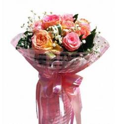 Μπουκέτο 9 Ροζ τριαντάφυλλα