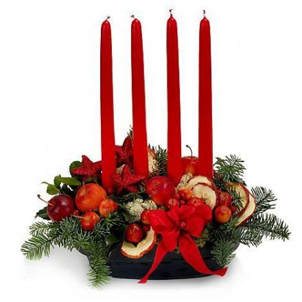 Season's Center-piece with 4 long-Candles
