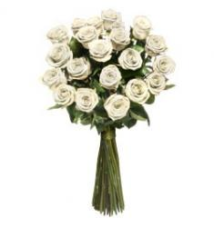 White long stem roses bouquet